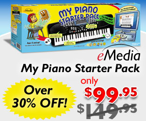 Over 30% off of the My Piano Starter Pack for Kids with Beginner Keyboard and Piano Lesson Software by eMedia Music