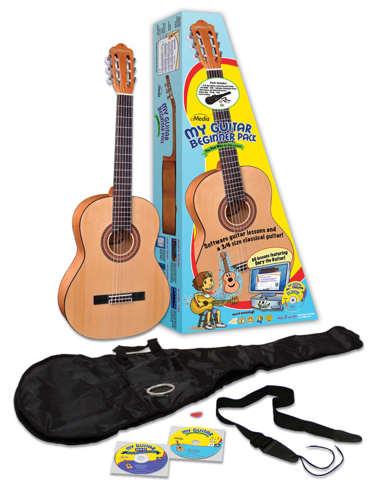 A kids guitar pack with a 3/4 size guitar for kids and