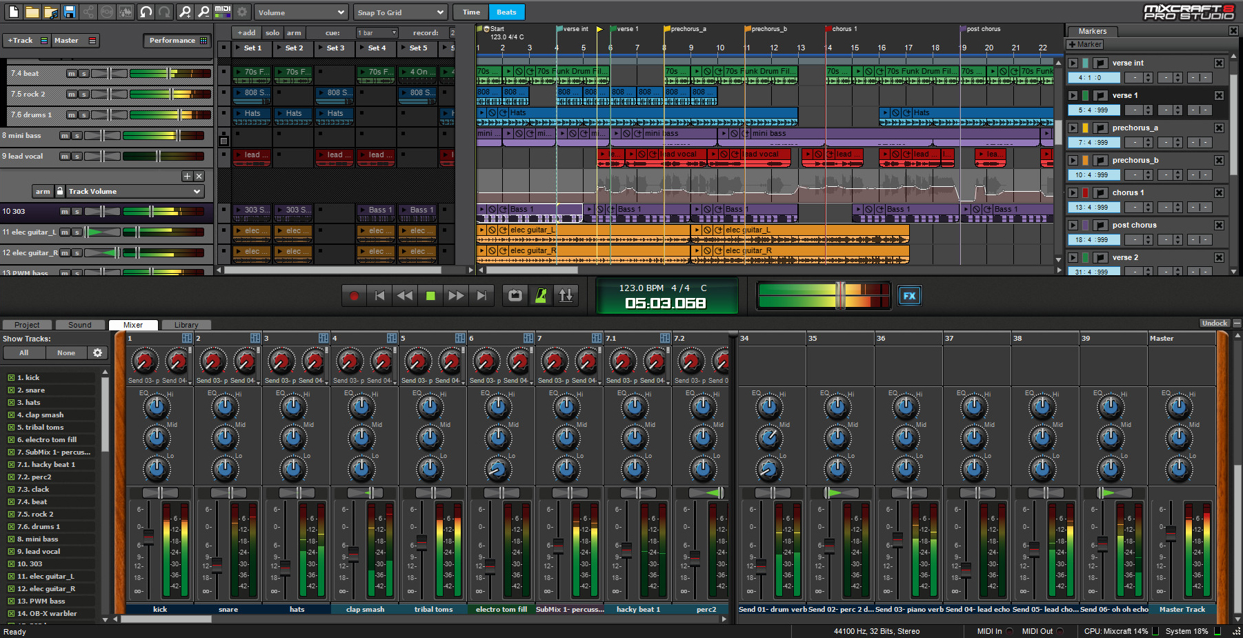 Mixcraft multitrack audio recorder and MIDI sequencing music