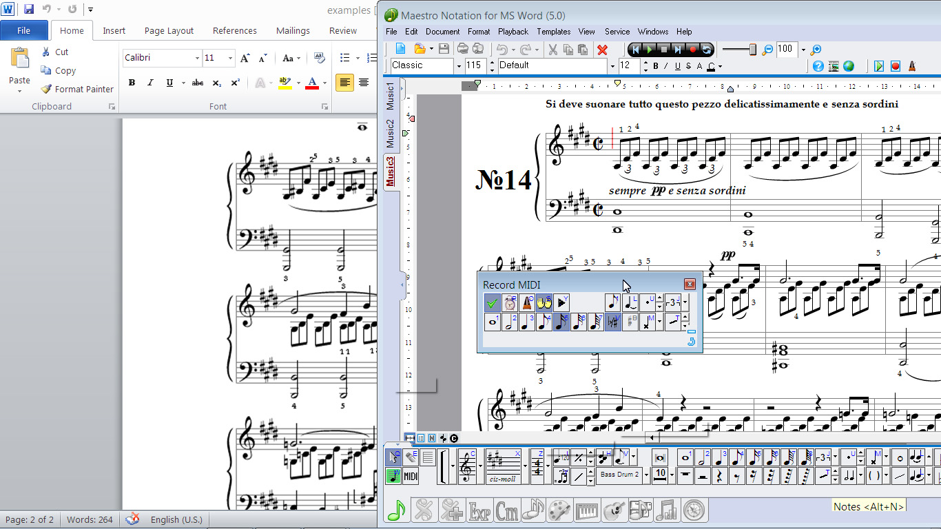 How to write music notation in word
