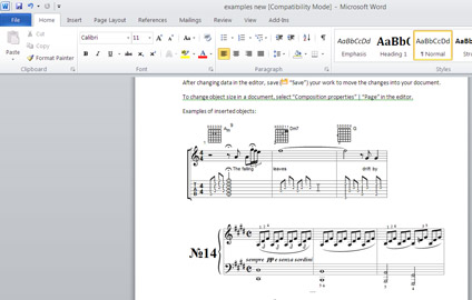 MagicScore Notation for MS Word screen capture