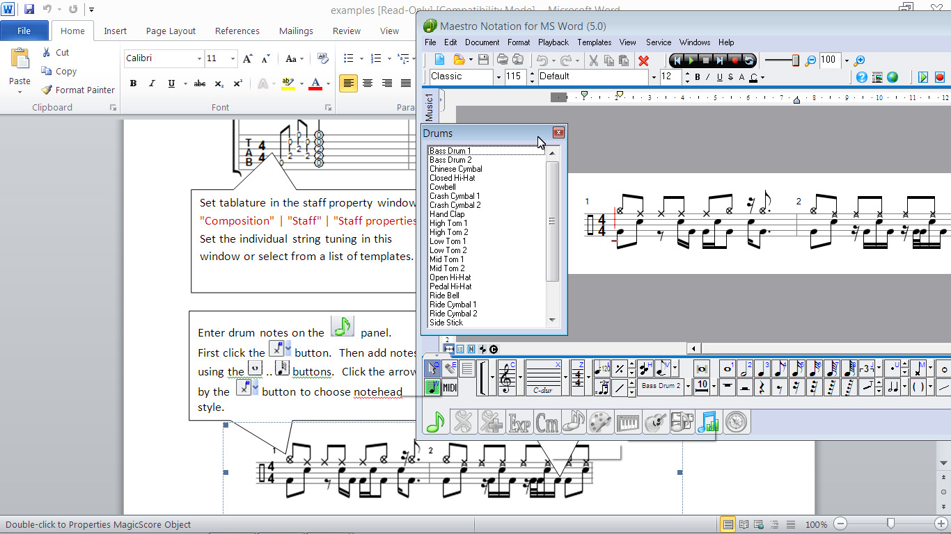 Magicscore notation for ms word academictheological edition great software for music teachers lessons studios and band leaders biocorpaavc Gallery